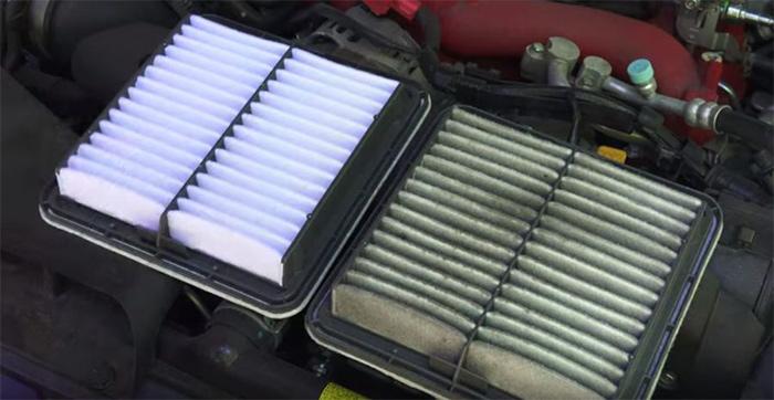 filtro limpio versus filtro sucio de coche